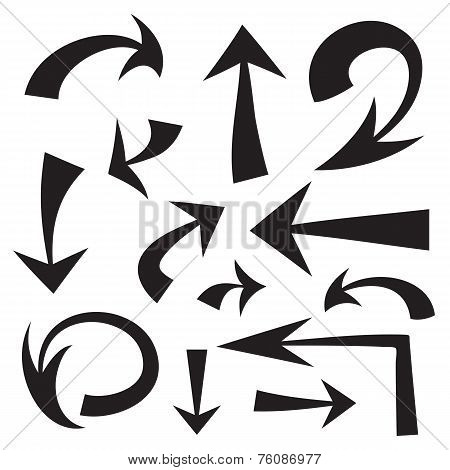 Vector set of hand drawn black arrows on white background