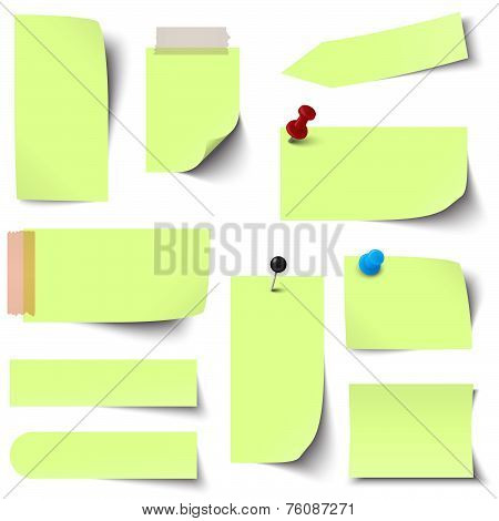 Collection Of Paper Notes Green