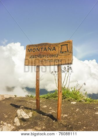 Machu Picchu Mountaintop Wood Sign