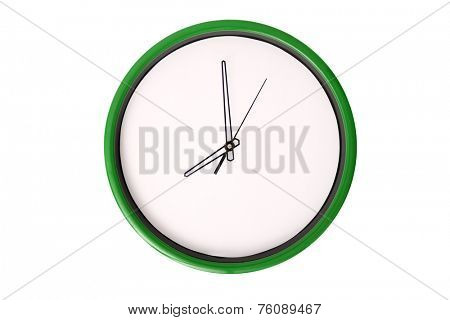A clock showing 8 o'clock. Isolated on a white background.