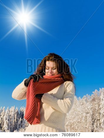 Beauty in warm clothes Midwinter Sunshine