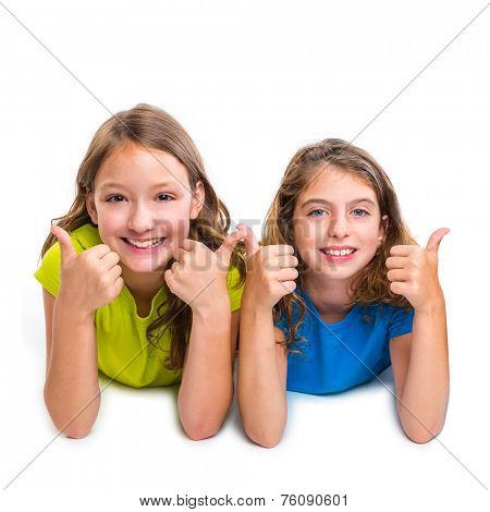 two kid girls happy ok thumbs up gesture expression lying on white background