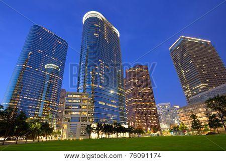 Houston Downtown skyline sunset modern skyscrapers at Texas US USA