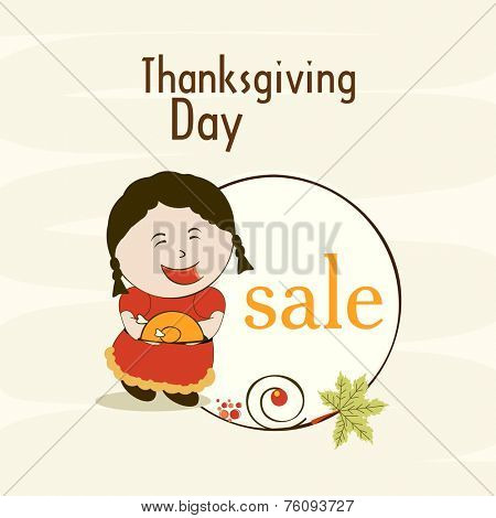 Thanksgiving sticker, tag or label of sale with a little cute girl holding cooked chicken plate and maple leaf on beige background.