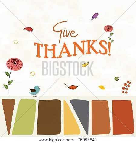 Thanksgiving Day celebration concept with stylish text Give Thanks, turkey bird, and autumn leaves on abstract background.