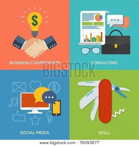 Set Of Flat Design Concept Icons For Business. Business Cooperation, Consulting, Social Media And Sk
