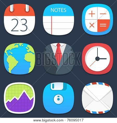 Set of office mobile icons in flat design