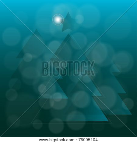 Abstract Translucent Blue Christmas Tree