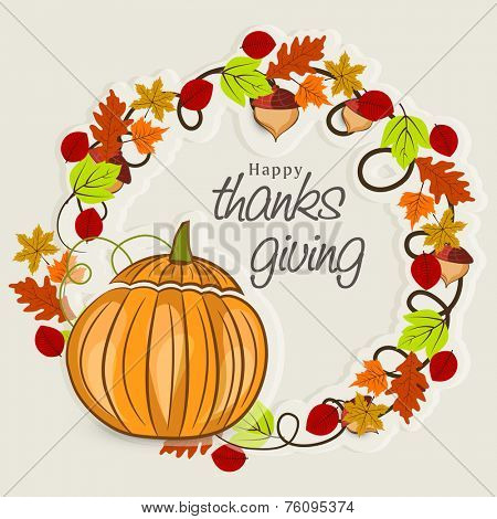 Thanksgiving Day celebration concept with stylish frame decorated by maple leaves, acorn and pumpkin on grey background.