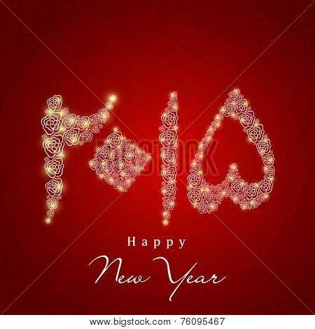 Floral decorated shiny Urdu calligraphy of text Happy New Year 2015 on seamless red background.