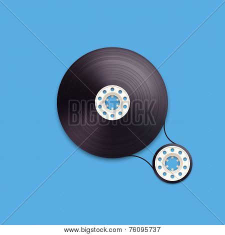 A vector illustration of a recordable bobbin of tape cassette. Letter Q