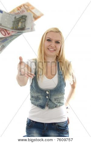 Young Woman Throws Money