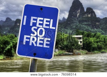 I Feel So Free sign with a forest background