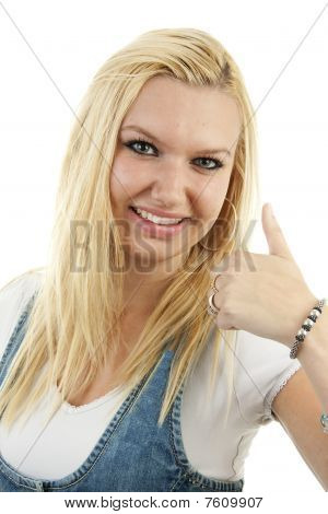 Young Blonde Woman With Thumbs Up