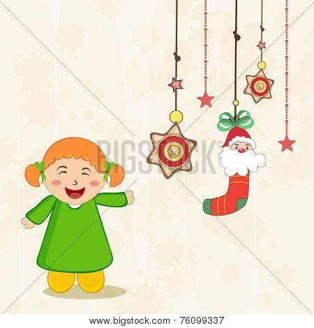 Beautiful hanging X-mas ornaments with cute little girl for Merry Christmas and other occasion.