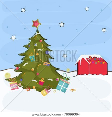 Merry Christmas celebration concept with X-mas tree on winter nature background, can be use as poster, banner or flyer.