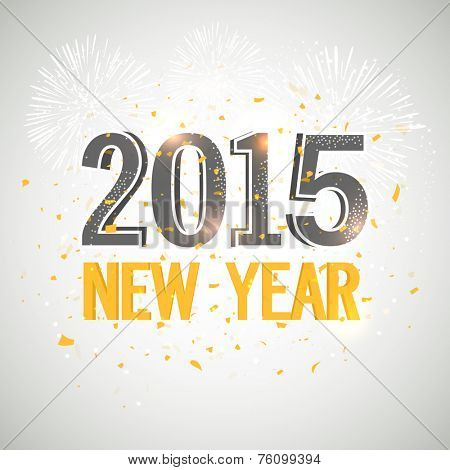 Stylish text on fireworks decorated grey background for Happy New Year 2015, can be used as greeting card or invitation card.