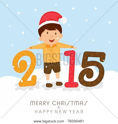 Stylish text 2015 with cute little boy in Santa cap for Merry Christmas and Happy New Year celebrations, can be used as poster, banner or flyer.