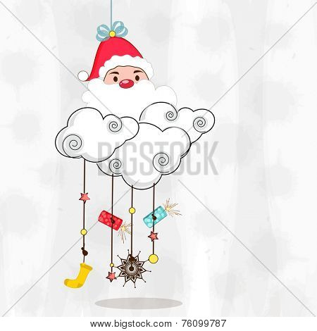 Merry Christmas celebration concept with hanging Santa Claus, clouds and X-mas ornaments on stylish background.
