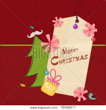 Merry Christmas tag decorated with pink flowers, gift box and X-mas tree on red background.