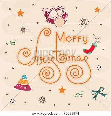 Poster or banner for Merry Christmas celebration with stylish text and X-mas ornaments..