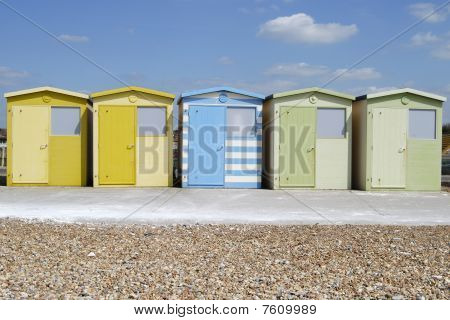 Beach Huts At Seaford. England