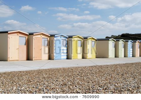 Beach Huts At Seaford. England