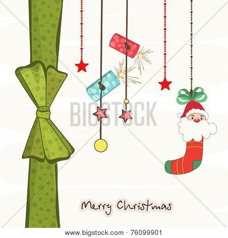 Merry Christmas greeting card decorated with hanging crackers, Christmas stocking and stars on beige background.