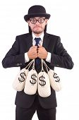 picture of sack dollar  - Man with sacks of money isolated on white - JPG
