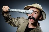 stock photo of safari hat  - Man in safari hat in hunting concept - JPG