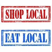 stock photo of local shop  - Set of grunge rubber stamps with text Shop Local and Eat Local - JPG