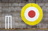 foto of archery  - The Archery target on concrete wall for practice - JPG