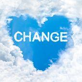 stock photo of feeling better  - change word on blue sky inside heart cloud form - JPG