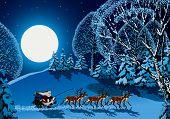 image of sleigh ride  - Santa Claus riding on reindeer sleigh through forest in Christmas time - JPG