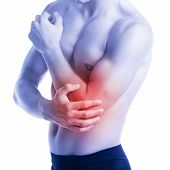 picture of elbow  - Man has elbow contussion and pain - JPG