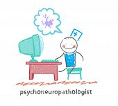 pic of nerve cell  - psychoneuropathologist  sits on the workplace at the computer and thinking of nerve cells - JPG