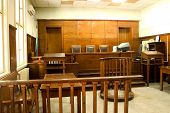 stock photo of court room  - Old vintage court room - JPG