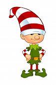 image of elf  - A cartoon illustration of a cute Christmas elf character - JPG