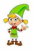 foto of elf  - A cartoon illustration of a cute girl elf character dressed in green - JPG