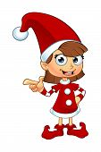 stock photo of elf  - A cartoon illustration of a girl elf character dressed in red - JPG