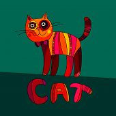 pic of cat-tail  - Vector illustration of cute cat - JPG