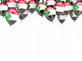 picture of sudan  - Balloon frame with flag of sudan isolated on white - JPG