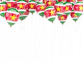 picture of suriname  - Balloon frame with flag of suriname isolated on white - JPG