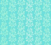 picture of harebell  - Turquoise outline curved stylized harebell seamless pattern with smooth color gradation - JPG