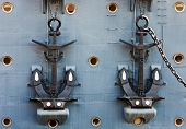 stock photo of enormous  - Anchors of Cruiser Aurora double - JPG