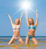 stock photo of denude  - Beauties Joy In Bikini  - JPG