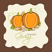 image of happy thanksgiving  - Stylish Happy Thanksgiving Day greeting card decorated with pumpkin and autumn leaves - JPG