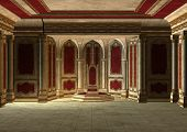 stock photo of throne  - 3D digital render of a beautiful fairytale throne room in red and gold - JPG