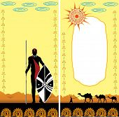 stock photo of spears  - warriors with spear and shield on the background of the desert - JPG