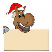 picture of merry chrismas  - Cartoon of a horse in Santa cap holding blank board for message on occasion of Merry Christmas or New Year - JPG